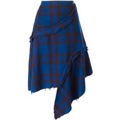 Comme Des Garçons Vintage Asymmetric Tartan Skirt ($559) ❤ liked on Polyvore featuring skirts, blue, asymmetrical skirt, blue skirt, comme des garçons, tartan plaid skirt and vintage skirts