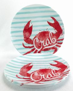 Crab Dinner Plates Set Of 4 Outdoor Collection Nautical Ocean MELAMINE NEW #OutdoorCollection & TIKI HUT PALM TREE NAUTICAL OUTDOOR ISLAND BEACH PLASTIC SERVING ...