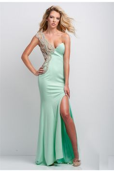 Sexy One Shoulder Mint Green Beaded Long Prom Dress Side Slit Prom Dresses  2016 bd63f4879836