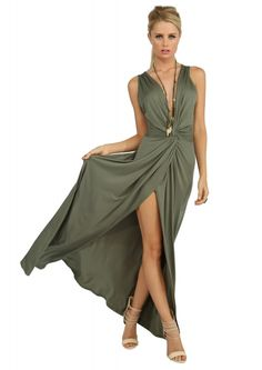 Stella Elongated Maxi Dress in Olive | Pair this with a hot pair of pumps, statement necklace, clutch, and hair up for a beautiful outfit!