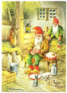 Swedish Erik Forsman Art Postcard Gnome