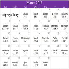 March 2016 Healing prayer calendar  God is our healer! Free monthly calendar/devotional email calendar@iprayallday.com