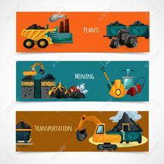 Bandeiras Horizontais Indústria De Mineração Definido Com Extração E Transporte Elementos Minerais Isolado Ilustração Vetorial Royalty Free Cliparts, Vetores, E Ilustrações Stock. Image 39264636.