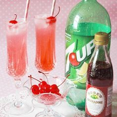 Virgin Shirley Temple -  1/4 c. 7-up, 1 1/2 Tbsp Grenadine Syrup, top with maraschino cherries - Enjoy!!