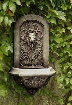 Lion Outdoor Wall Water Fountain in French Limestone Finish