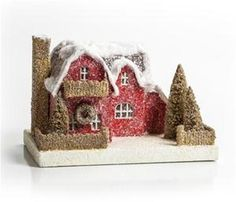 Vintage Style Red House Lighted Christmas Mica Glitter Putz House