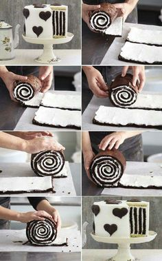 Striped Cake How to Make Gorgeous Chocolate Stripe Cake Cake Cookies, Cupcake Cakes, Cake Fondant, Food Cakes, Sweet Recipes, Cake Recipes, Striped Cake, Cake Tutorial, Creative Cakes
