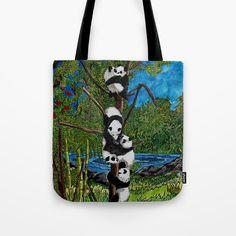 Six Baby Pandas in a Tree Tote Bag by mosaicpen Tree Bag, Baby Pandas, Reusable Tote Bags, Stuff To Buy, Baby Panda Bears, Panda Babies