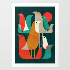 Flock of Birds Art Print by Budi Satria Kwan - $19.97 I dig the modern style bold colors and simplicity
