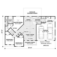 Construction-Ready Ranch House Plan with Slab Foundation Printed Sets) Image 2 of 3 Pole Barn House Plans, Pole Barn Homes, Ranch House Plans, Dream House Plans, House Floor Plans, Barn Homes Floor Plans, Barn House Kits, Barn Houses, Home Building Kits