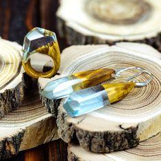 Wood Resin Ring Earrings Set Wooden Resin Ring Art Deco Earrings Set Minimalist Ring Rings Terrarium Jewelry Resin Wood Ring Wooden Ring by OKTIEofficial on Etsy