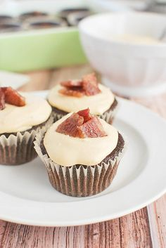 Chocolate-Bacon Cupcakes with Caramel Frosting! The bacon and caramel are so good together!