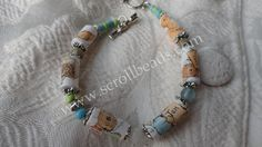 Beatrix Potter Peter Rabbit scrollbeads bracelet in antique silver-tone & gembeads.  (paperbeads recycling-upcycling old & damaged books)