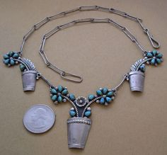 Whimsical Vintage 21 inch Zuni Turquoise Silver Petit Point Necklace | eBay