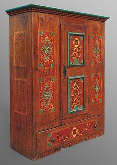 Armoire alsacienne paysanne 1 porte, un tiroir, par Jean-Caude Pioget