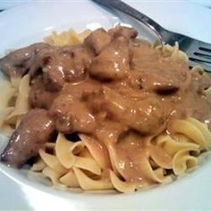 Cubed sirloin tips baked with mushrooms in cream of mushroom soup mixed with beef and onion soup mix. Served over egg noodles. Great with dinner rolls or garlic toast. Beef Dishes, Pasta Dishes, Food Dishes, Main Dishes, Crockpot Recipes, Cooking Recipes, Healthy Recipes, Easy Recipes, Cooking Food