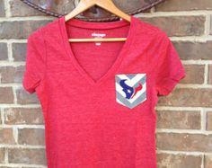 Houston Texans Red and Blue Game Day Monogrammed Pocket V-Neck T-Shirt