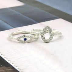 THOMAS SABO STERLING SILVER PAVÉ ZIRCONIA RINGS I THINK I NEED BOTH  NAZAR'S EYE & FATIMA'S HAND FOR PROTECTION!