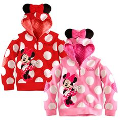 Polka Dots Toddler Girls Hoodie Coat Kids Minnie Mouse Bow T Shirt Costume  $11.90