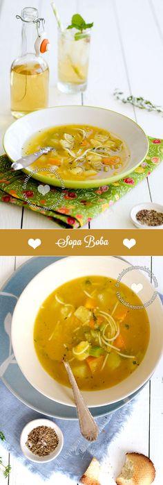 Receta Sopa Boba (Sopa de Vegetales): una opción más ligera que las sopas tradicionales y muy fácil de preparar. Se conoce como boba porque no tiene carne.