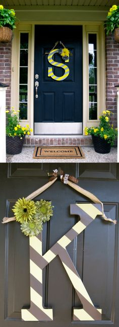 Monograms have been a trend for front doors for decades. The old screen door is an example of front door use when I was a child. But this new trend invites bright colors, stripes and patterns, mounted on a wreath, a picture frame or right on the door. Front Door Decor, Wreaths For Front Door, Door Wreaths, Front Doors, Home Projects, Home Crafts, Diy Home Decor, Diy Crafts, Room Decor