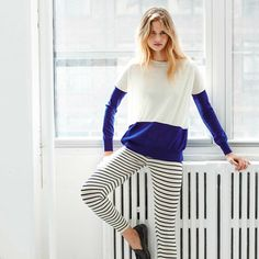 We love the colour blocking of white and marine on the Kellen Sweater
