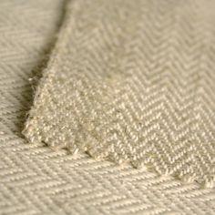 Tissu Lin à chevrons naturel & blancs 470 g / m²     7.49 le m
