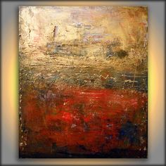 original large metallic gold red texture impressionist painting 22 x 28 abstract wall decor gritty distressed modern art