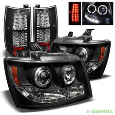 For 2007-2014 Chevy Suburban Tahoe Twin Halo LED Pro Head+LED Tail Lights BLK