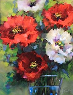 """""""Poppies in Red and White"""" Oil painting by Nancy Medina"""