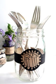 Why not use old jars and add your own DIY labels for your personalized tabletop?