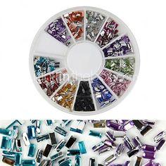 600PCS 12 Color Square Diamond Nail Art Decoration - USD $2.99