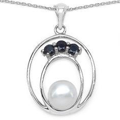 Edle 2,44 Carat blaue Saphir Perlen Anänger 925 Silber Collier Kette