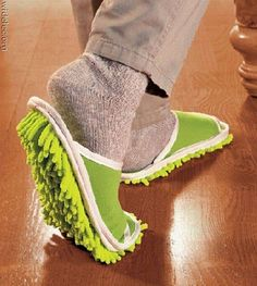 Slipper Genie.  Less cleaning, more walk. Get fit. Too funny.