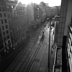 Arndale and tram lines in Manchester city centre.