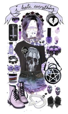 """""""i hate everything"""" by fatallylovely ❤ liked on Polyvore featuring Hot Topic, Wildfox, As Is, Talullah Tu, Kill Star, Manic Panic NYC, GAS Jeans, Samsung, Kreepsville 666 and cute"""