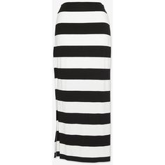 Nadia Tarr Striped Maxi Skirt ($69) ❤ liked on Polyvore featuring skirts, black white striped maxi skirt, black and white stripe skirt, maxi skirt, black and white striped maxi skirt and slit maxi skirt
