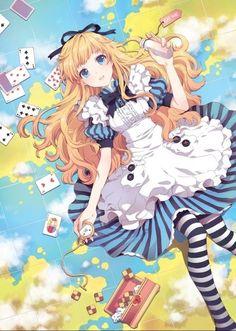Anime alice in wonderland Fanart from Anime Paradise. Alice in wonderland Manga Girl, Manga Anime, Anime Art, Manga Eyes, Kawaii Anime Girl, Manga Kawaii, Anime Girls, Cartoon Cartoon, Chibi