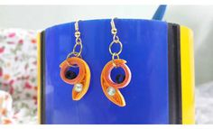 Handmade quilled earrings made with quilling strips