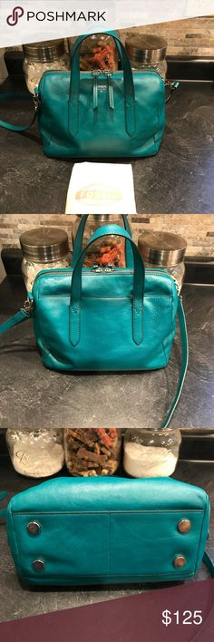 Fossil Sydney satchel Beautiful Sydney satchel in the color dark turquoise. I just purchased this a few days ago and realized it's just too small for me. So my price is firm because I would just like to get back what I paid. My home is not smoke or pet free but I do my best to store my items away from both but please be aware I have only had this two days though. Fossil Bags Satchels