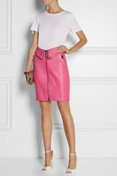Pink leather Zip fastening through front 100% leather (Sheep); lining: 52% rayon, 48% acetate Specialist clean