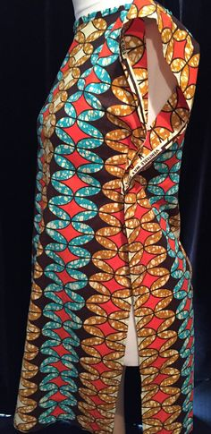 Cotton Wax Print Tunic - Blue, Brown, Red and Turquoise - Medium