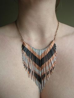Items similar to Copper Necklace - Fringe Metal Necklace - Multi V silver and black lacquer stripes - Copper Jewelry- handmade in Austin, Tx on Etsy Fringe Necklace, Copper Necklace, Metal Necklaces, Copper Jewelry, Beaded Jewelry, Jewelry Necklaces, Handmade Jewelry, Necklace Ideas, Tribal Necklace
