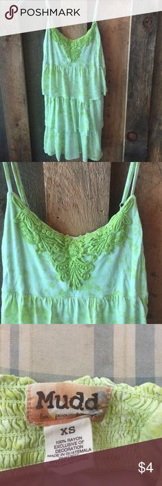 Thin strap green top Thin strap green layered top Mudd Tops Tank Tops