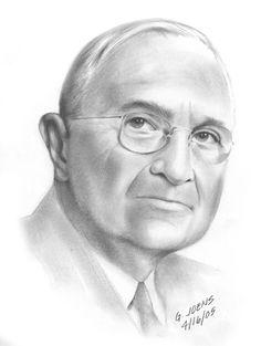 President Harry S. Truman pencil sketch by Greg Joens Cool Pencil Drawings, Graphite Drawings, Amazing Drawings, Pencil Art, Cartoon Pics, Cartoon Drawings, Art Drawings, Drawing Art, Pop Art