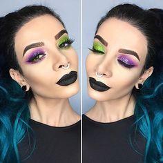 """Joker themed eye look inspired by one of my favourite internet makeup artist friends/cooking teacher, @lipstickittty!  EYES: @morphebrushes 35B palette + @eyekandycosmetics glitter, LIPS: @limecrimemakeup """"Black Velvet"""" velvetine, FACE: @katvondbeauty Shade+Light palette, LASHES: @houseoflashes """"Iconic"""", SEPTUM: @lotusandco  _____________________________________________ #limecrime #limecrimemakeup #limecrimevelvetines #limecrimeblackvelvet #blacklipstick #joker #morphebrushes #morphe35b #..."""