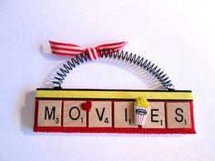 Love Movies Popcorn Scrabble Tile Ornament by ScrabbleTileOrnament Scrabble Coasters, Scrabble Tile Crafts, Scrabble Letters, Puzzle Pieces Games, Game Pieces, Movie Popcorn, Crafts To Make, Diy Crafts, Love Movie