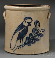 F. B. Norton Stoneware Crock with Cobalt-decorted Parrot