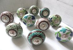 10 Ceramic Knob set green-brown designs from KnobKleo von KnobKleo
