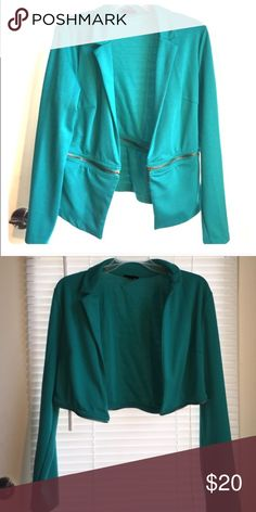 brand new, never worn teal detachable blazer brand new, never worn real blue green collared Blazer / jacket with detachable zipper to shorten! multi-use - awesome, classic piece & great for a work setting or to add a little class to a night out :) Jackets & Coats Blazers